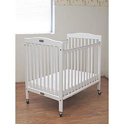 Folding White Wooden Compact Crib with 3-inch Mattress