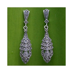 Sterling Silver Marcasite 'Thai Glamour' Drop Earrings (Thailand)