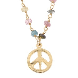 Charming Life Goldfill Tourmaline Peace Sign Necklace