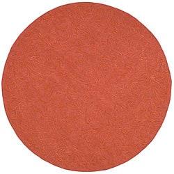 Martha Stewart Sprig Begonia Orange Cotton Rug (4' Round)