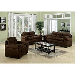 Heath Brown Microfiber Sofa Set - Sofa + Loveseat + Chair