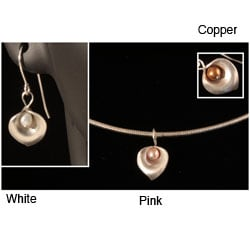 Sterling Silver Lilies and Pearls Earrings and Necklace Gift Set