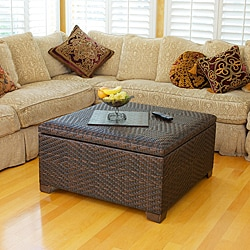 Wicker brown indoor/ outdoor storage ottoman
