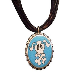 Steel Teal Skull Bottle Cap Necklace