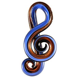 Murano Inspired Glass Blue, Black and Gold Music Note Pendant