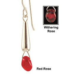 Sterling Silver 'Tears of a Red Rose' Glass Earrings
