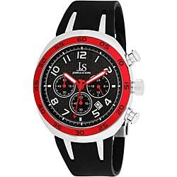 Joshua & Sons Men's Red/ Black Chronograph Carbon Fiber Strap Watch