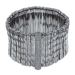 Celeste Gunmetal Bamboo Bar Pave-set Crystal Stretch Bracelet