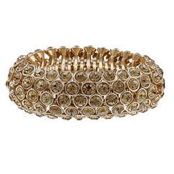 Celeste Gold Overlay 5-row Citrine Crystal Stretch Bracelet 7210570