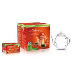 Creano Glass Carafe with Organic White Abloom Tea Gift Set