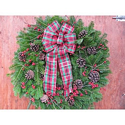 Fresh Balsam Tartan Bow Winterberry Wreath