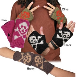 Wool Skull and Crossbones Fingerless Gloves (Nepal)