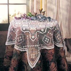 Tuscany in. Lace Tablecloth - White - Oblong - 72 in. x108 in.