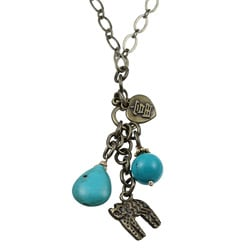 Charming Life Blue Turquoise and Cat Charm 30-inch Necklace