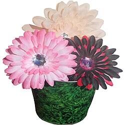 Crochet Hat with Boutique Flower Clip Set