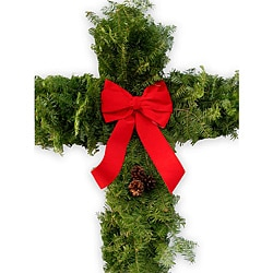 Balsam Fir 30-inch Cross Wreath