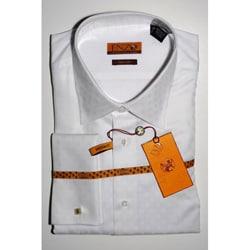 Men's White Tonal Stripe French Cuff Dress Shirt