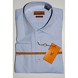 Men's Light Blue Tonal Striped French Cuff Dress Shirt