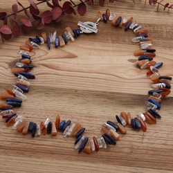 Silverplated 'Dawn to Dusk' Lapis and Carnelian Necklace