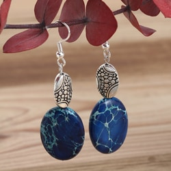 Silverplated 'My Blue Heaven' Variscite Earrings