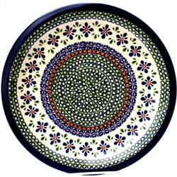 Ceramic Stoneware Blue and Orange 10.75-inch Dinner Plate (Poland)