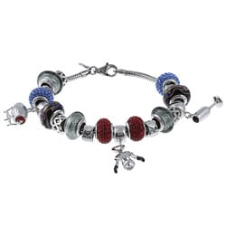 Signature Moments Sterling Silver Wine Lover Theme Bracelet