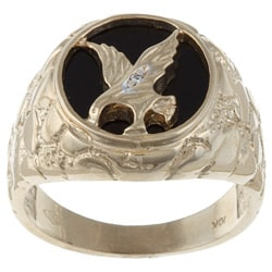 Gems For You 10k Gold Men's Black Onyx and Diamond Eagle Ring