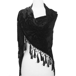 Black Embroidered Fringed Shawl