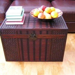 Original Hawaii Large Wood Trunk with Decorative Wicker