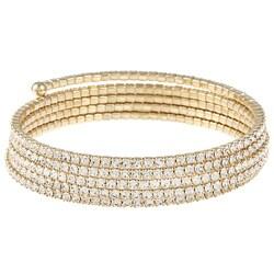 Celeste Goldtone Crystal Coil Cuff Bracelet 7803303