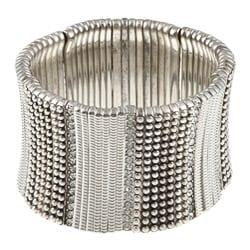 Celeste Silvertone Brass Crystal Stretch Cuff Bracelet 7803540