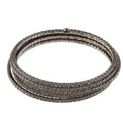 Celeste Brass Gunmetal Crystal Coil Cuff Bracelet 7804949