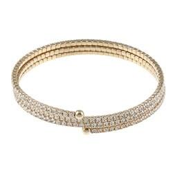 Celeste Goldtone Brass Crystal Small Coil Cuff Bracelet 7809259