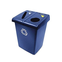 Rubbermaid 46-gallon Glutton Plastic Rectangle Blue Recycling Station