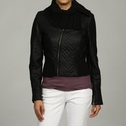 Black Rivet Women's Quilted Knit Trim Jacket