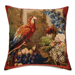 French Woven Parrot Jacquard Decorative Pillow