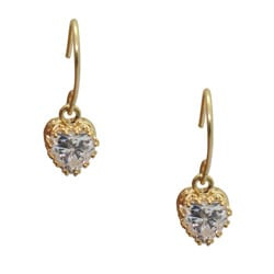 Gioelli 14k Yellow Gold Over Sterling Silver Heart-Cut Cubic Zirconia Earrings
