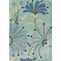 Alliyah Handmade Nile Blue New Zealand Blend Wool Rug (8' x 10')
