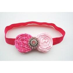 Double Satin Flower Vintage Headband