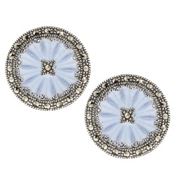 Sterling Silver Marcasite Blue Crystal Earrings