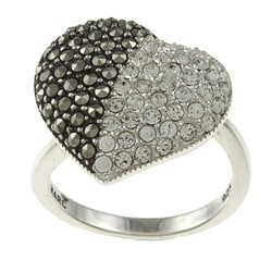 MARC Sterling Silver Marcasite and Clear Crystal Heart Ring