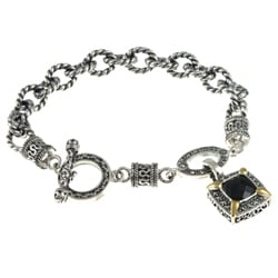Sterling Silver Black Onyx and Marcasite Toggle Bracelet 8030400