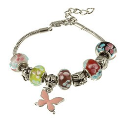 La Preciosa Glass Silverplated Multi-colored Glass Bead and Charm Bracelet 8044957