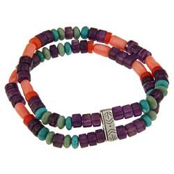 Southwest Moon Silver Multi-gemstone 2-strand Stretch Bracelet