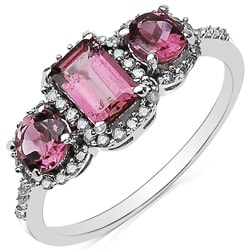 Malaika 10k White Gold Pink Tourmaline and 1/5ct TDW Diamond Ring (J-K, I2-I3)