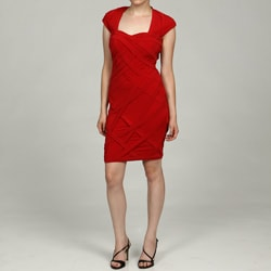 Jax Women's Red Stylized Cap-Sleeved Dress