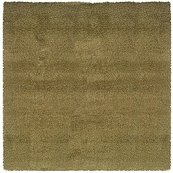 Manhattan Tweed Green/ Gold Shag Rug (8' Square)