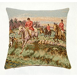 French Jacquard Woven Horsemen Decorative Pillow