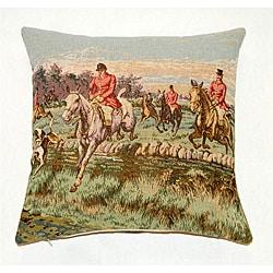 French Jacquard Woven Horsemen Decorative Pillow