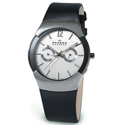 Skagen Men's Black Leather Bracelet Silver Dial Watch